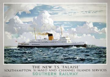 The New TS Falaise Ferry,  Southern Railways Shipping Poster By Norman Wilkinson, 1947.